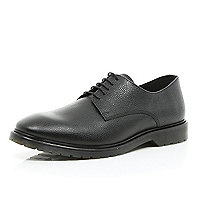 Black textured leather dress shoes
