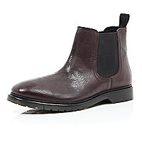 Dark red leather Chelsea boots