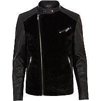 Black leather-look pony skin jacket
