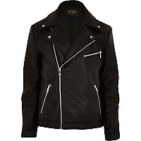 Black textured leather-look biker jacket