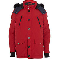 Red faux fur trim alpine parka jacket