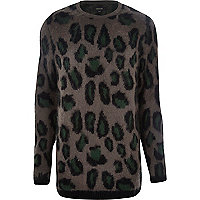 Grey animal print brushed knitted jumper