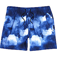 Blue cloud print short swim shorts