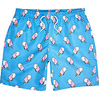 Blue ice cream print mid length swim shorts