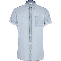 Blue bleach printed denim short sleeve shirt
