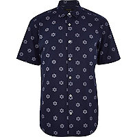 Navy flower print short sleeve shirt