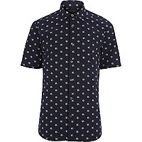 Navy star print short sleeve shirt