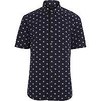 Navy star print short sleeve shirt