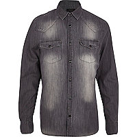 Grey distressed long sleeve denim shirt