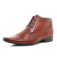 Mid brown lace up formal boots