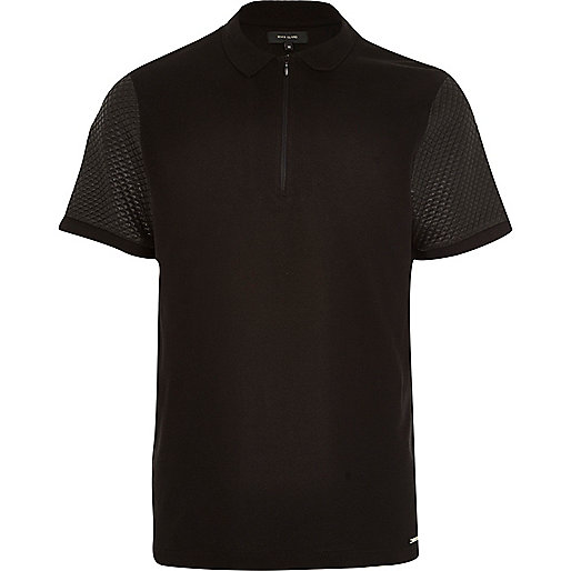 Black zip front quilted sleeve polo shirt