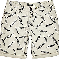 Ecru feather print chino shorts