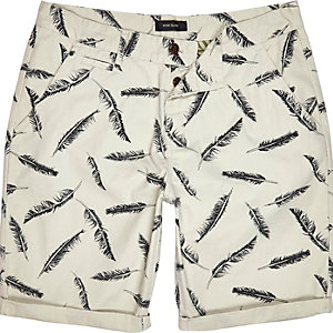 Beige feather print chino shorts