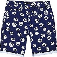 Navy tie dye spot print chino shorts