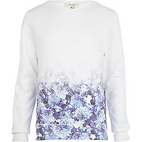 White floral ombre print sweatshirt