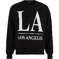 Black LA beaded print sweatshirt