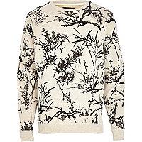 Ecru floral print sweatshirt