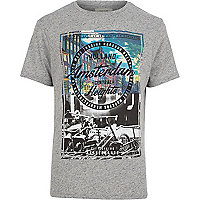 Grey neppy Amsterdam print t-shirt