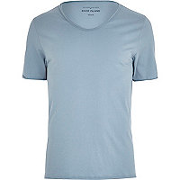 Blue low scoop neck t-shirt