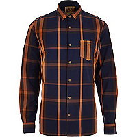Navy Holloway Road check shirt