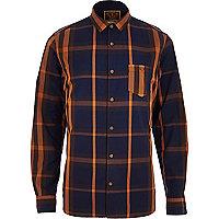 Navy Holloway Road check shirt