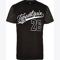 Black 26 Million paisley sleeve print t-shirt