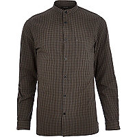 Grey gingham check grandad collar shirt