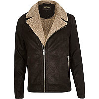 Black leather-look shearling biker jacket