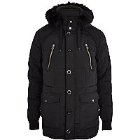 Black faux fur trim alpine parka jacket