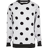 Grey marl polka dot sweatshirt