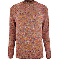 Red twist knit crew neck jumper