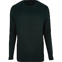 Dark green honeycomb knit jumper