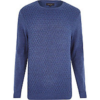 Blue honeycomb knit jumper