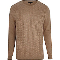 Brown cable knit jumper