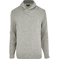 Light grey lambs wool shawl neck jumper