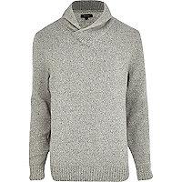 Light grey lambs wool shawl neck jumper