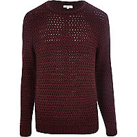 Dark red rik rak stitch jumper