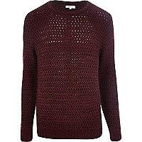 Dark red rik rak stitch jumper