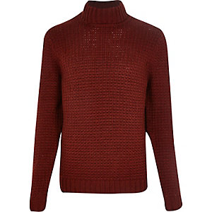 Rust roll neck knitted jumper