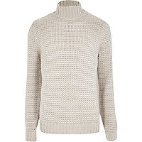 Ecru roll neck knitted jumper
