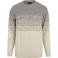 Grey colour block cable knit jumper