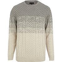 Grey colour block cable knit jumper