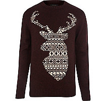 Dark red stag Christmas jumper