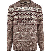 Dark red fair isle knitted jumper