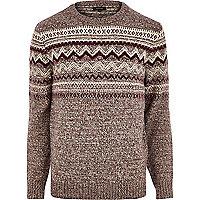 Dark red fair isle knitted jumper