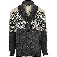 Ecru fair isle shawl collar cardigan