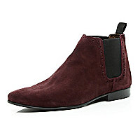 Red suede Chelsea boots
