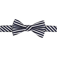 Navy blue stripe bow tie