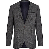 Grey check slim suit jacket