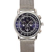 Silver multi dial mesh strap watch